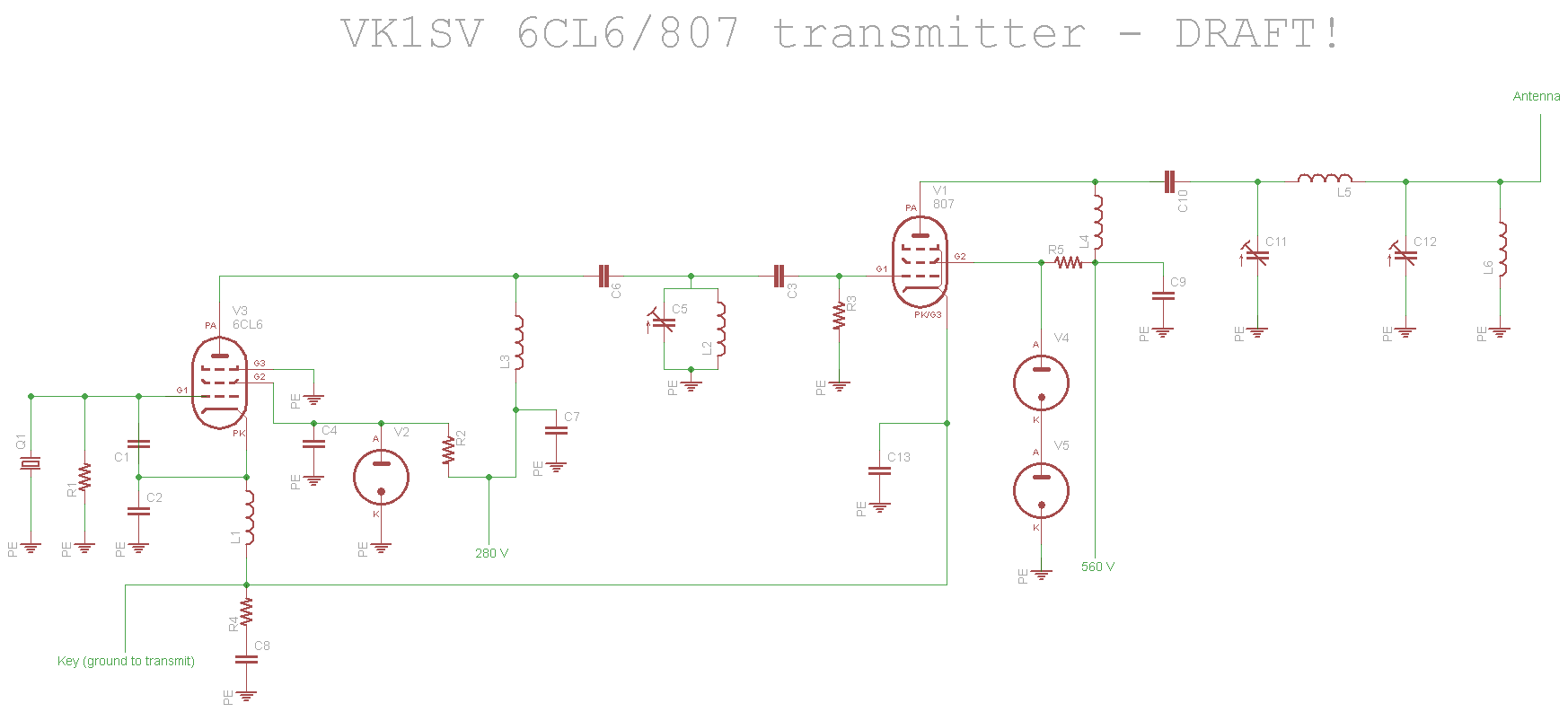 Vk1sv Valves Home Page Block Diagram Of Radio Transmitter 6cl6 807 Schematic